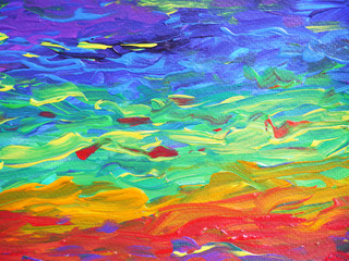 Abstract Rainbow Painting, acrylic color on paper