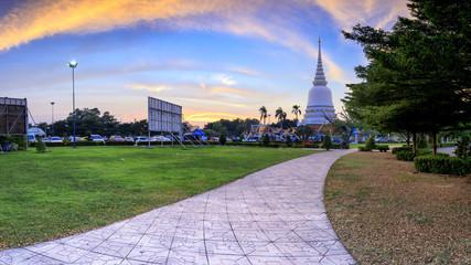 Landscape Thai Temple with Twilight, Wat Phra Sri Mahathat Bangkhen Bangkok, Thailand. Focus Pagoda.