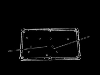 Billiard table.Isolated on black background. Sketch illustration