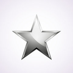 Silver star logo for your design, vector illustration, isolated on white
