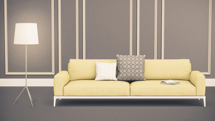Moderner Wohnbereich mit Sofa und Stehlampe