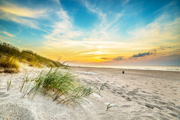Papiers peints Plage Sand dunes against the sunset light on the beach in northern Poland