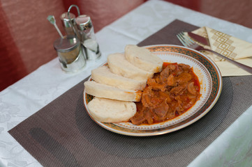 Hungarian goulash with dumplings