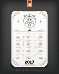 Leo 2017 year zodiac calendar pocket size vertical layout White color design style vector concept illustration