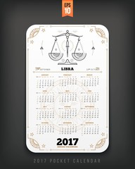 Libra 2017 year zodiac calendar pocket size vertical layout White color design style vector concept illustration