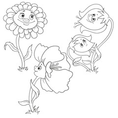 Set flowers for coloring book. Bell, poppy, gerbera. Cartoon characters flowers