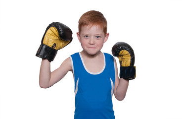 The boy boxer on a white background. Isolated on white. Place fo