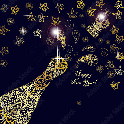 happy new year 2017 greeting template card or poster design with shining glittering gold champagne explosion