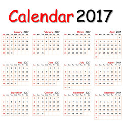 12 months of calendar 2017.