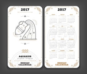 Aquarius 2017 year zodiac calendar pocket size vertical layout Double side white color design style vector concept illustration