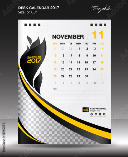 November Desk Calendar  Year Size X Inch Vertical Business