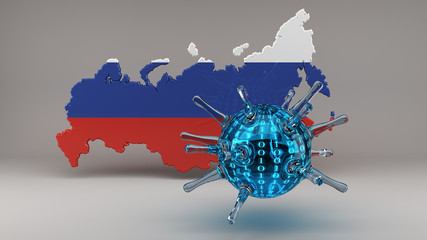 Computer Virus with Russian Flag