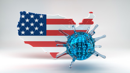 Computer Virus with USA Flag
