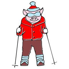 Vector set - funny cartoon pig