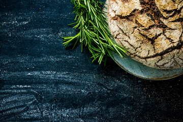 Home baked bread, food border background