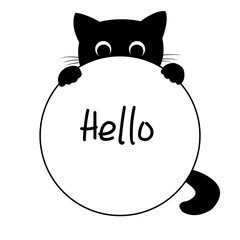 Black kitten looking out from behind a frame for your text, vector illustration
