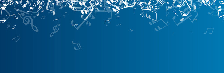 Blue musical banner with notes.
