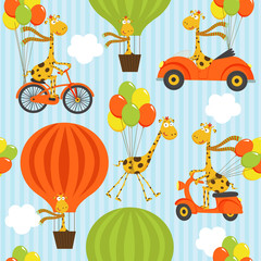 seamless pattern with giraffe on balloons - vector illustration, eps