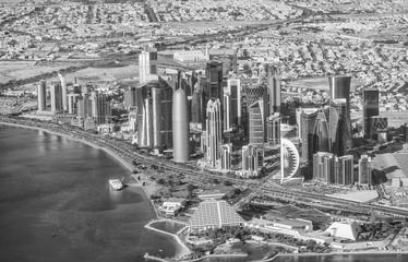 DOHA, QATAR - DECEMBER 12, 2016: Aerial view of city skyline. Do