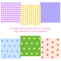 Set of six seamless backgrounds with auto recoloring dots patterns