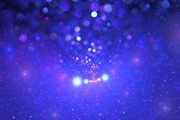Abstract blue and purple drops on black background. Fantasy fractal design. Digital art. 3D rendering.