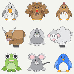 Line flat color vector icon set with cute animals for baby products. Cartoon style. Childrens doodle. Babyhood. Newborn. Vector illustration and element for your design and wallpaper. Collection. Zoo.