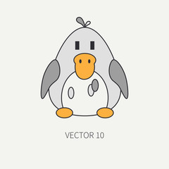 Flat line color vector icon with cute animal for baby products - duck. Cartoon style. Childrens doodle. Babyhood. Newborn. Vector illustration and element for your design and wallpaper. Kids. Farm.