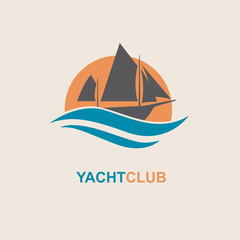design of yacht icon on waves