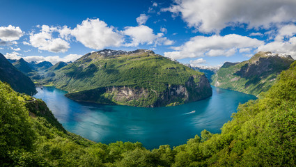 Printed roller blinds Scandinavia Aerial panorama of Geiranger fjord