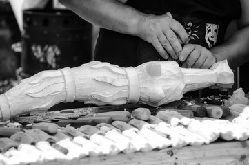 Wood carving hands