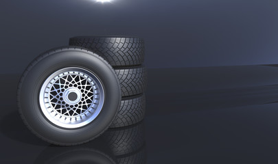 Automotive wheels background. 3D render