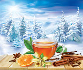 Tea with spices on a winter background