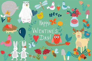 Valentine's day. A set of animals, butterflies, flowers, hearts, birds. Cartoon-style. Vintage. Hand lettering
