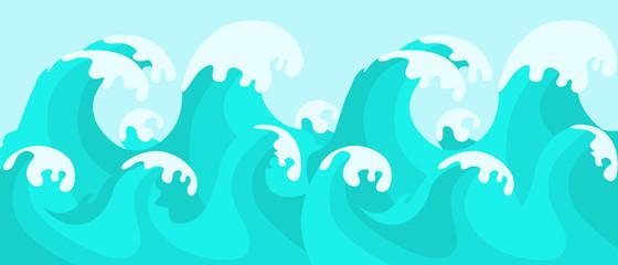 Sea wave on sky background. Flat design. Vector illustration