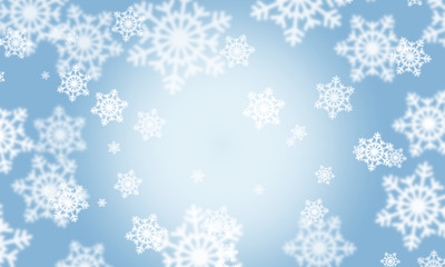 Background with snowflakes bokeh effect