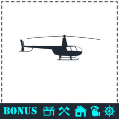 Helicopter icon flat