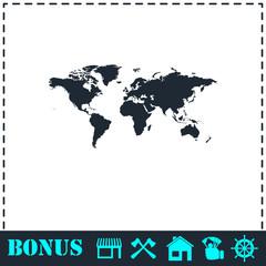 World map icon flat