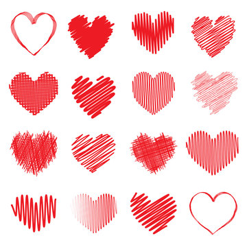 Collection of red scribble heart symbols isolated on a white background. Vector illustration