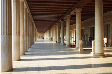 Stoa of Attalos (portico) in Ancient Agora, Athens, Greece Fototapete