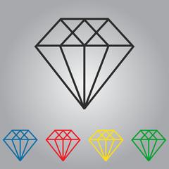 Set of diamonds vector icons