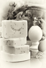 Handmade soap still life in retro style (lavender)