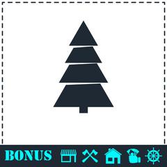 Fir tree icon flat