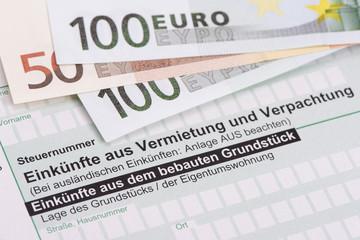 Steuererklärung für Finanzamt für Einkünfte aus Vermietung und Verpachtung