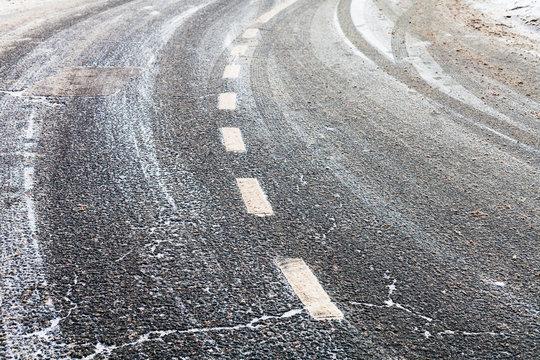 turn on a slippery frozen road in winter
