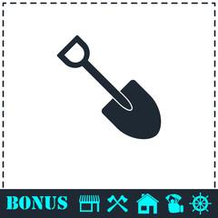Mini Shovel icon flat