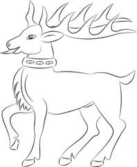 Fotobehang Cartoon draw Cartoon deer contour on white background