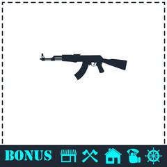 Assault rifle icon flat