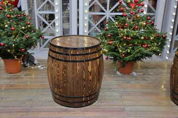 Wooden barrel with hoops