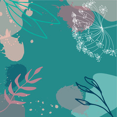 Floral abstract universal background with flowers, leaves and pa