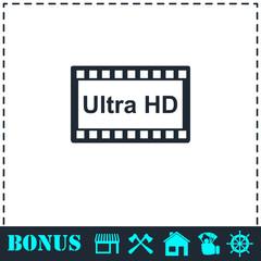 TV Ultra HD icon flat
